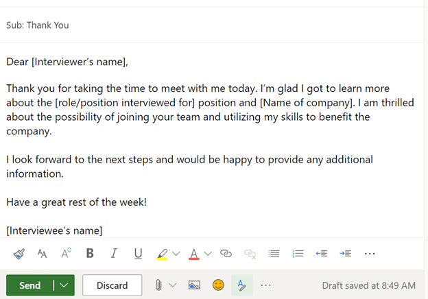 Screenshot of a potential thank you email for a job interview.